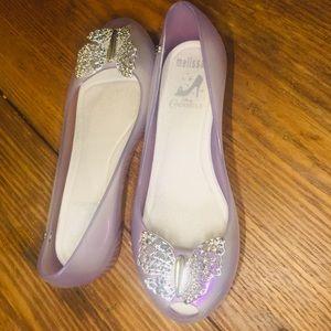 Melissa Butterfly Girls Flat Peep-toe Size 1 Shoe
